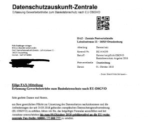 Vorsicht Abzocke: Datenschutz-Fax schreckt die Branche auf